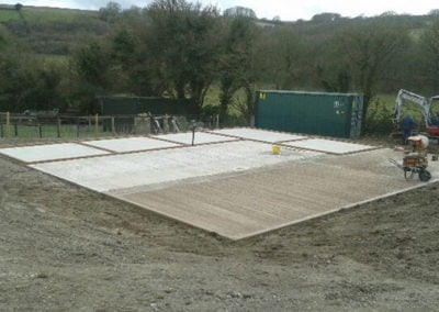 New horse stables concrete floor pad