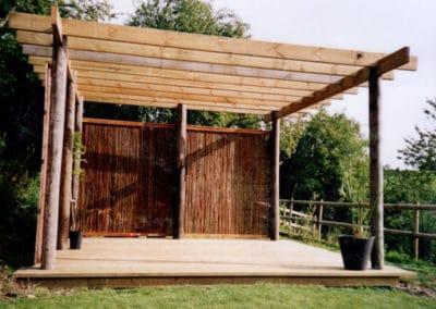 Pergola and wood decking patio area built