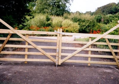 Matching wooden gates hung for an entrance