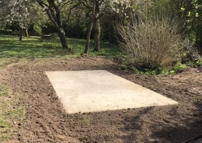 Concrete base for Wardour Schools new garden shed