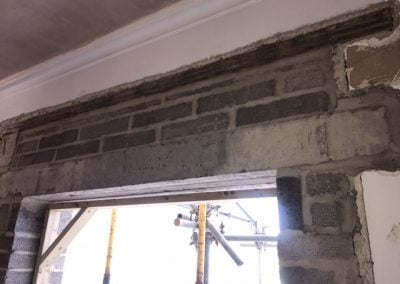Block walls and lintels installed