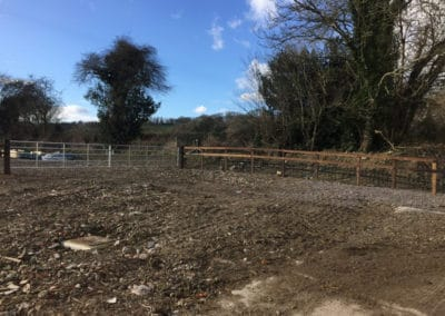 Post and rail fencing with wire