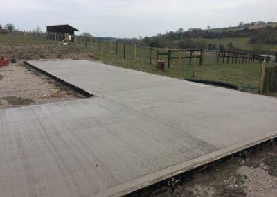 New horse stables concrete floor pad