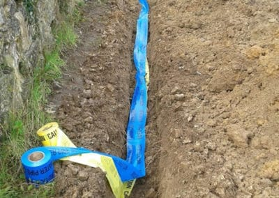 Warning tape over dug in services