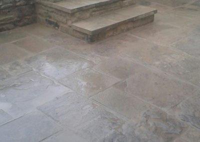 Rustic patio laid as spec